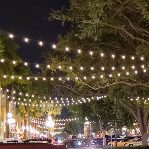 Festoon lighting in Downtown Hollywood